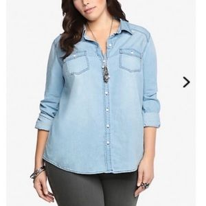 Torrid Chambray Long Sleeve Button Down Size 4X